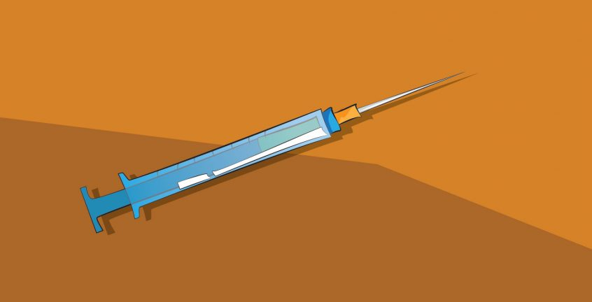 illustration of a blue syringe on an orange background