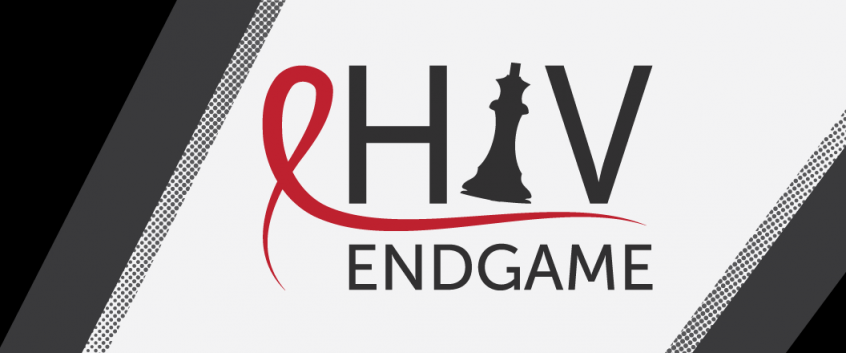 The HIV Endgame conference logo on a black and white background.
