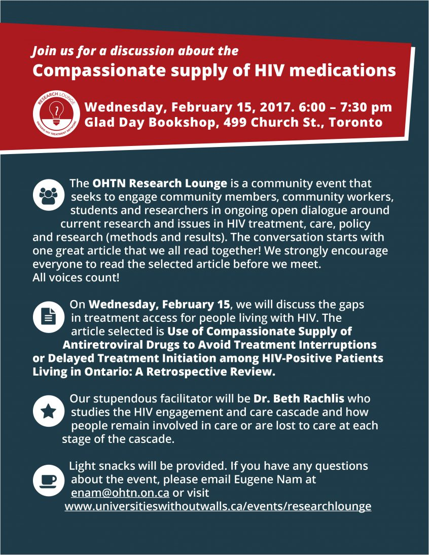 Why We Need Open Conversations About Drugs Community >> Compassionate Supply Of Hiv Medications The Ontario Hiv Treatment
