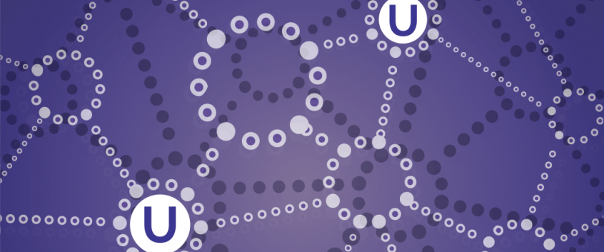 "Pattern of circles connected by dotted lines, with the letter ""u"" in two of the circles. Emphasizes the connections created by U=U."