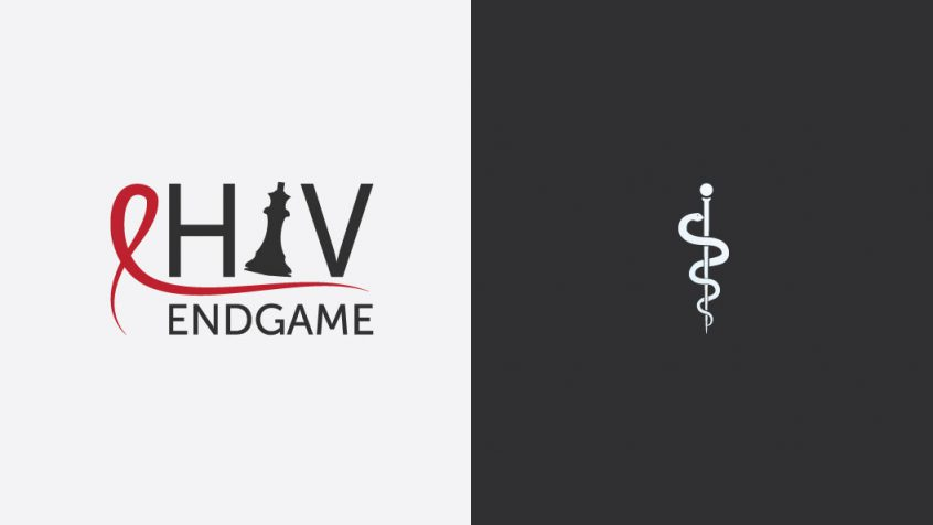 The HIV Endgame conference logo stands beside an image of rod of asclepius.