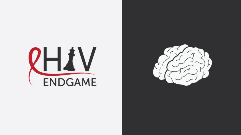 The HIV Endgame conference logo stands beside a drawing of the human brain.