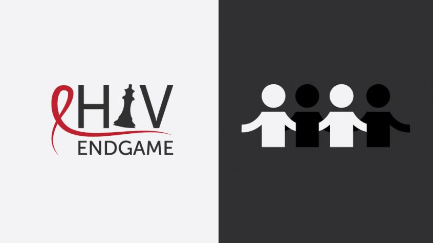 The HIV Endgame conference logo stands beside a drawing of several people linking arms
