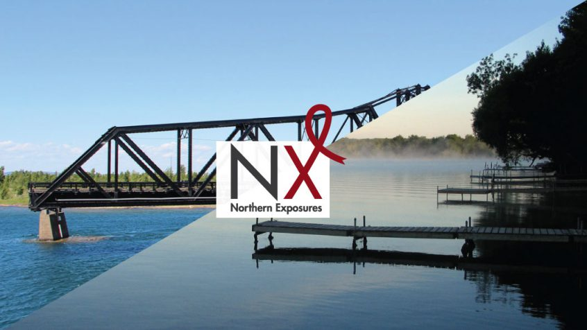 The Northern Exposures conference logo sits on top of a collage of two images of lakes and rivers in Northern Ontario.