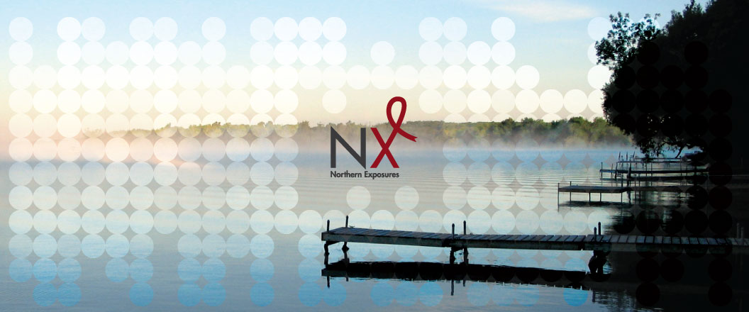 The Northern Exposures conference logo sits on a photo of a lake in Northern Ontario.