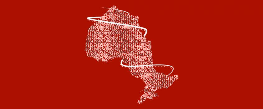 Numbers and data are arranged in the shape of Ontario, a spiral wraps around the province, connecting everything