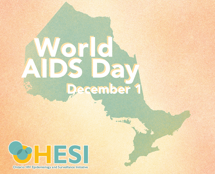 Colourful spray paint image of an Ontario map (teal) on a yellow and orange background, with the words World AIDS Day December 1 and the OHESI logo