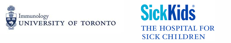 logos from the University of Toronto, Department of Immunology and the Hospital for Sick Children