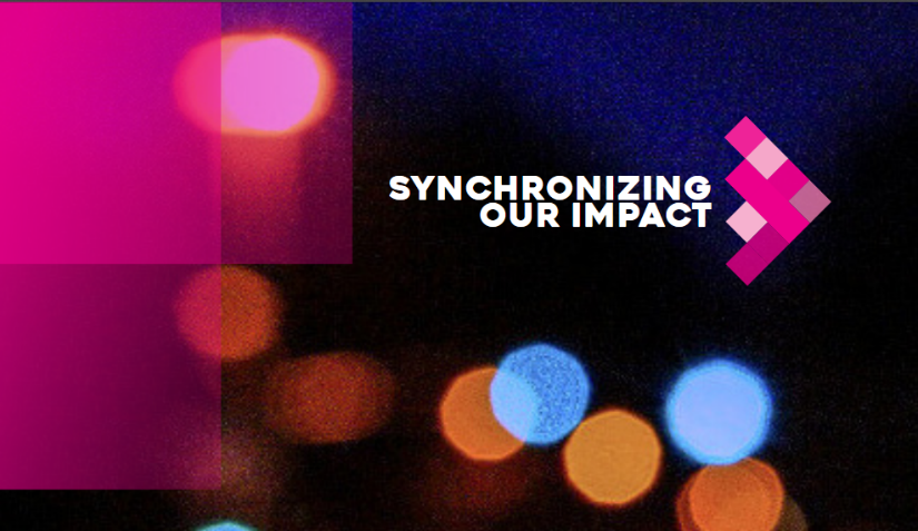 Cover image of the 2018 Synchronizing our Impact summary report showing blurred multi-coloured lights and the summit logo