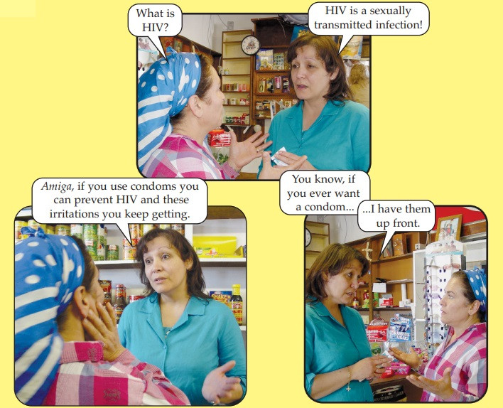 An exchange between a drug store workers and a customer, where the worker encourages the customer to purchase condoms because they can prevent HIV transmission