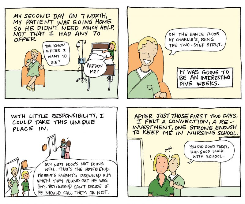 A comic strip with four frames outlining an exchange between a nurse and a patient.