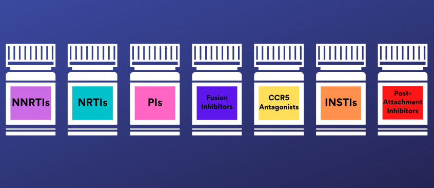 Pill bottles representing the seven classes of antiretroviral drugs
