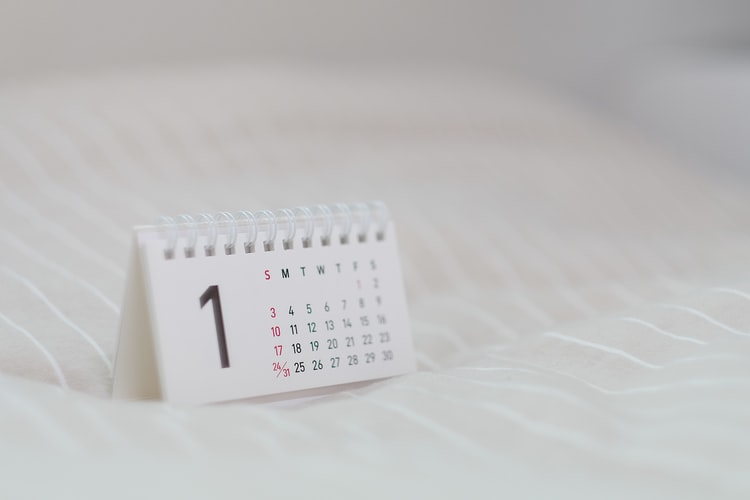 A calendar with the number 1 beside each day of the month